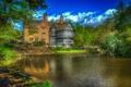 Картинка HDR, озеро, вода, зелень, дом, деревья, особняк