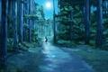 Картинка лес, ночь, светлячки, луна, рисунок, фонарик, девочка, ёлки, тропинка