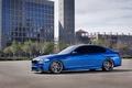 Картинка здание, БМВ, диски, f10, окна, вид сбоку, синий, BMW, monte carlo blue