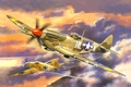 Картинка подбитый, Bf - 109E - 3, арт, Хоукер, WW2, немецкий, Харрикейн, берег, рисунок, вода, корабли, ...