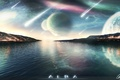 Картинка небо, вода, сияние, планета, звёзды, падение, метеориты, Alba