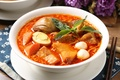 Картинка мясо, яйцо, базилик, суп