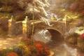Картинка ручей, река, Мост, деревья, тропа