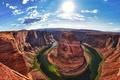 Картинка Arizona, river, sun, United States, Colorado River, light, green, Grand Canyon