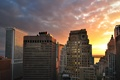 Картинка Manhattan, Lower, Sunset, New York City, здания, облака, закат