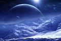 Картинка космос, звезды, поверхность, снег, планеты, спутник, арт, QAuZ