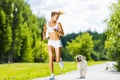 Картинка woman, physical activity, running, dog