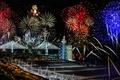 Картинка Новый Год, мост Васко да Гама, Лиссабон, фейерверк, Португалия, салют