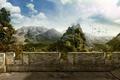 Картинка горы, стена, 151, Руины, Балкон, деревня, птицы, небо