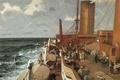 Картинка корабль, отдых, люди, Claus Bergen, палуба, море, волны, пассажиры