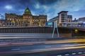 Картинка мост, дорога, огни, вечер, дворец, Glasgow, Шотландия, фонари