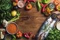 Картинка приправы, рыба, овощи, еда, стол, рыбы