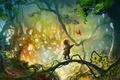 Картинка лес, листья, деревья, арт, птичка, ребёнок