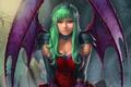 Картинка взгляд, крылья, арт, зеленые волосы, вампирша
