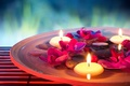 Картинка вода, цветы, свечи, орхидеи, water, flowers, Spa, спа, candles, orchids, Spa stones, спа камешки