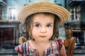 Картинка Девочка, шляпа, взгляд, портрет