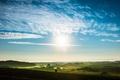 Картинка небо, холмы, деревья, трава, долина, облака