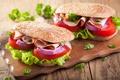 Картинка салат, tomatoes, ham, bread, ветчина, бутерброд, помидоры