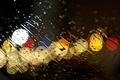 Картинка стекло, вода, капли, огни, дождь, ливень, потоки, glass sprayed with water an evening sky, Canon ...