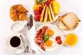 Картинка сок, кофе, яичница с беконом, фрукты, сервировка, круассаны, завтрак, breakfast