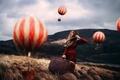 Картинка девушка, арт, Mind Traveller, Rosie Hardy, чемодан, воздушные шары