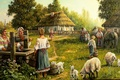 Картинка лето, станица, Андрей Лях, арт, колодец