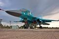 Картинка стоянка, бомбардировщик, аэродром, Су-34