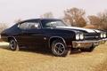 Картинка Coupe, Мускул кар, Hardtop, 1970, Chevelle, Muscle car, купе, Шевиль, чёрный, передок, Шевроле, деревья, 396, ...