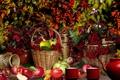 Картинка яблоки, фрукты, осень, Корзина