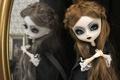 Картинка длинные волосы, игрушка, готика, зеркало, отражение, кукла