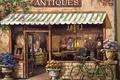 Картинка цветы, flowers, велосипед, Sung Kim, магазин, Картина, антиквариат, shop, Picture, antique, лавка, painting, bike, живопись, ...