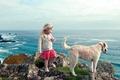 Картинка море, пейзаж, собака, девочка