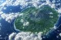 Картинка арт, остров, акведук, море, птицы, арки, океан, облака, высота, реки