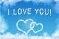 Картинка небо, облака, сердца, i love you