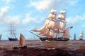 Картинка картина, лодка, корабли, парусник, море, J. Steven Dews, волны, небо, облака