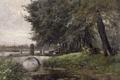 Картинка деревья, мост, река, картина, Карлос де Хаэс, Пейзаж в Неймегене