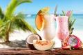 Картинка море, пляж, кокос, клубника, ананас, beach, sea, melon, strawberry, дыня, pineapple, coconut, молочные коктейли, milkshakes