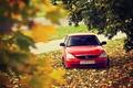 Картинка диски, дорога, красная, priora, листья, лада 2170, приора, осень