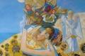 Картинка девушка, корзина, матрешки, Ольга Ларионов
