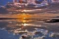 Картинка ocean, sunset, clouds, birds, reflections