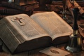 Картинка Библия, фолиант, страницы, колокольчик, книга
