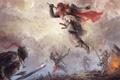Картинка оружие, Воины, доспехи, прыжок, битва, мечи, дым, огонь