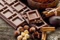 Картинка dark chocolate, chestnuts, food, cloves, cinnamon, nuts, sweet, Chocolate, cocoa