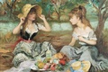 Картинка природа, картина, пикник, жанровая, Марсель Диф, Пейзаж с двумя девушками