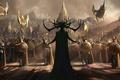 Картинка воины, фантастика, фэнтези, Thor: Ragnarok, рисунок, Асгард, копья, щиты, шлемы, Тор: Рагнарёк, арт, войско