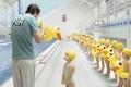 Картинка утка, тренер, дети, бассейн