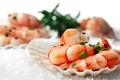 Картинка морепродукты, раковина, креветки, лук
