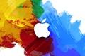 Картинка компьютер, краски, apple, яблоко, пятна, mac, телефон, ноутбук, эмблема, гаджет