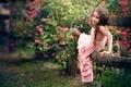 Картинка цветы, забор, платье, девочка, ребёнок