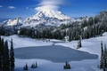 Картинка озеро, Гора, снег